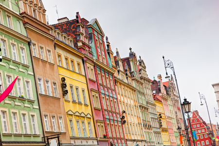 Wroclaw, Poland. The market square with colorful historical buildings. Silesia region. photo