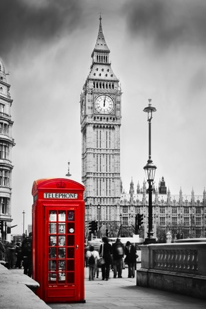 travel phone: Red telephone booth and Big Ben in London, England, the UK  People walking in rush  The symbols of London in black on white