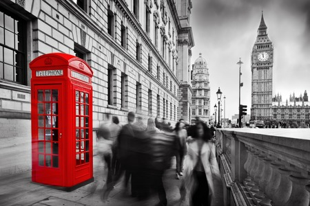 london city: Red telephone booth and Big Ben in London, England, the UK  People walking in rush  The symbols of London in black on white