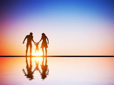 一緒に幸せな家族、両親、日没、水の反射で自分の子供。