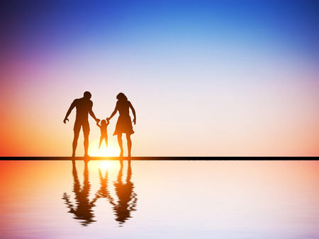 Happy family together, parents and their child at sunset, water reflection.  photo