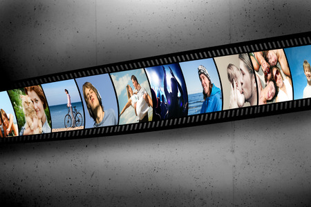 Film strip with colorful, vibrant photographs on grunge wall  People theme  All pictures used are mine photo