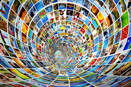 entertainment: Tunnel of media, images, photographs  Tv, multimedia broadcast, streaming  All photos are mine  Concepts of television, adverstising, internet, entertainment