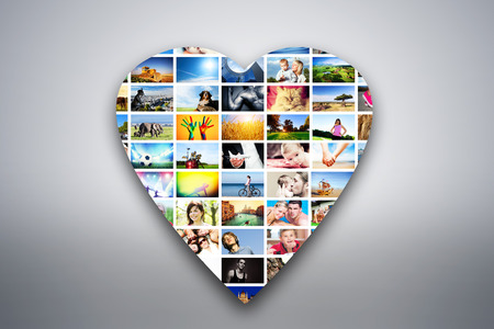 collage people: Heart design element made of pictures, photographs of people, animals and places  Conceptual background Stock Photo