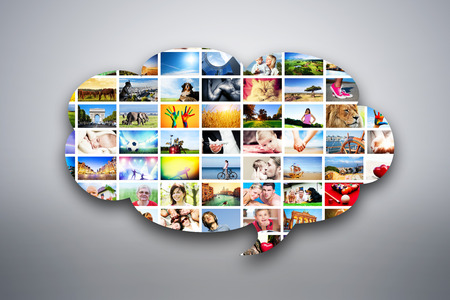 Speech bubble design element made of pictures, photographs of people, animals and places  Conceptual background photo