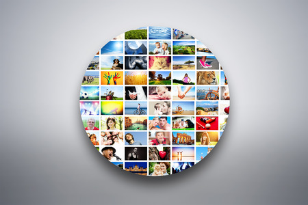 Circle design element made of pictures, photographs of people, animals and places  Conceptual background photo
