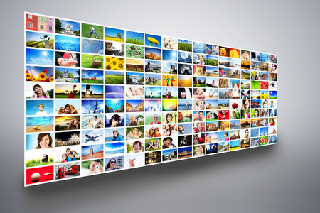 hdtv: Pictures display on wide modern monitors, screens forming a big multimedia broadcast  All photos are mine  Concepts of television, adverstising, high definition, entertainment