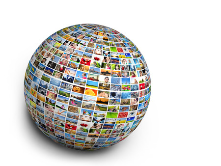 Ball, globe design element made of pictures, photographs of people, animals and places  Conceptual background photo