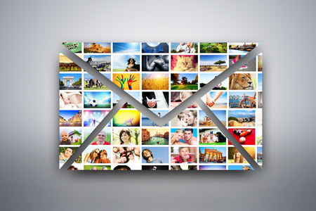 A letter, e-mail design element made of pictures, photographs of people, animals and places  Conceptual background photo