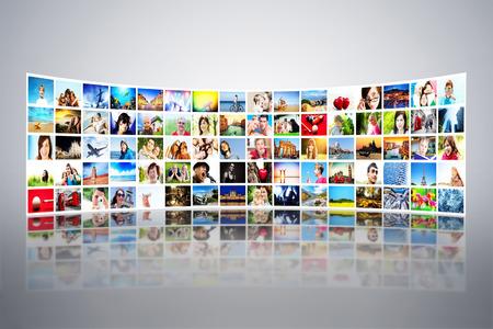 大きく近代的なモニターで表示する写真、画面大きなマルチ メディア放送の形成すべての写真は私のテレビ、テスト、高精細、エンターテイメント