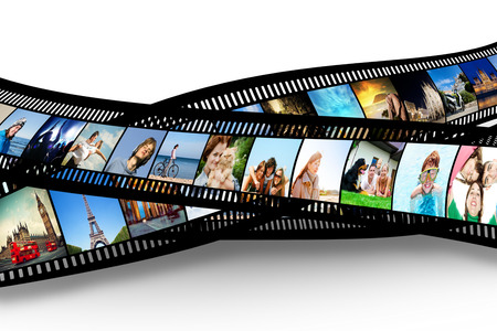 Film strip with colorful, vibrant photographs on white background. Various themes. All pictures used are mine photo