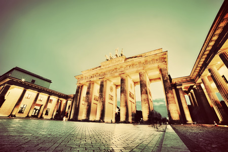 brandenburg: Brandenburg Gate. German Brandenburger Tor in Berlin, Germany. Illumination at night in vintage, retro style