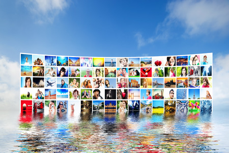 forming: Pictures display on wide modern monitors, screens forming a big multimedia broadcast. All photos are mine. Concepts of television, adverstising, high definition, entertainment. Stock Photo