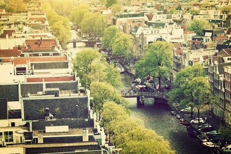 westerkerk: Amsterdam, Holland, Netherlands. City and canal view from Westerkerk. Stock Photo