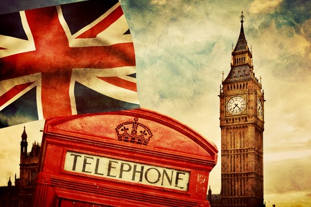Symbols of London, England, the UK. Red telephone booth, Big Ben and the national flag Union Jack. Vintage retro style photo