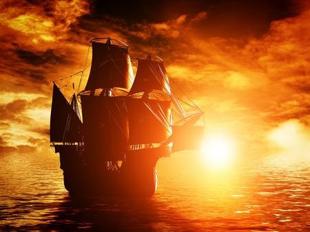 古代の海賊船海の夕暮れ時。帆を全部張った。