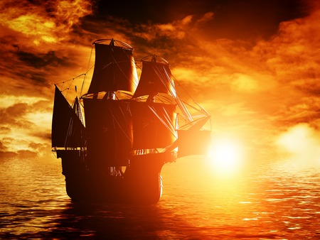 galley: Ancient pirate ship sailing on the ocean at sunset. In full sail. Stock Photo