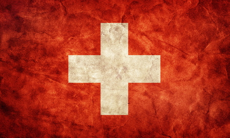 schweiz: Switzerland grunge flag. Vintage, retro style. High resolution, hd quality. Item from my grunge flags collection. Stock Photo