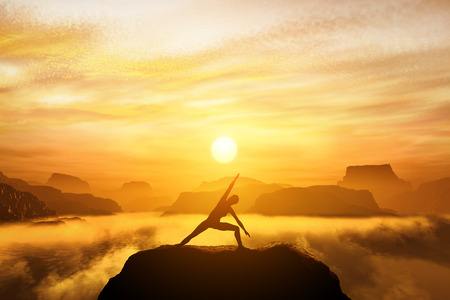 Woman meditating in tree yoga position on the top of mountains above clouds at sunset. Zen, meditation, peace Reklamní fotografie - 32104102