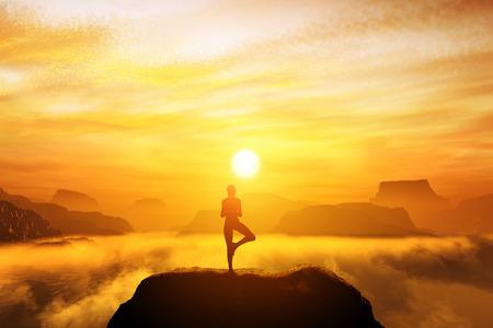 Mujer meditando en posición de yoga árbol en la cima de las montañas por encima de las nubes al atardecer. Zen, la meditación, la paz Foto de archivo