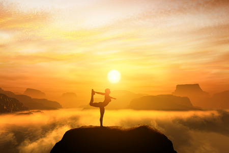 Woman meditating in the dancer yoga position on the top of mountains above clouds at sunset. Zen, meditation, peace Standard-Bild