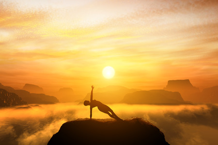 Woman meditating in side balance yoga position on the top of mountains above clouds at sunset. Zen, meditation, peace Standard-Bild