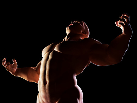 body building: Strongman, hero showing his muscular body in winner, alpha male position. Strenght, power, body building. Stock Photo