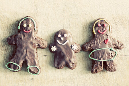 home decorated: Gingerbread family. Handmade in home, decorated by children. Vintage Christmas