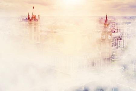Big Ben, the Palace of Westminster in deep morning fog. London, the UK. Reklamní fotografie