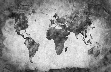 Ancient, stará mapa světa. Tužka skica, grunge, vinobraní pozadí textury. Černá a bílá