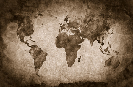 map pencil: Ancient, old world map. Pencil sketch, grunge, vintage background texture. Sepia mood