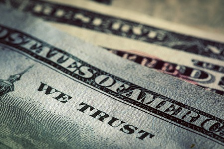 trust: In God We Trust motto on One Hundred Dollars bill. Conceptual, The United States of America