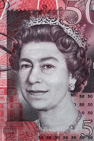 Queen Elizabeth II portrait on 50 pound sterling banknote. British currency