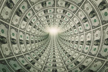 Tunnel of money, dollars towards light. Conceptual