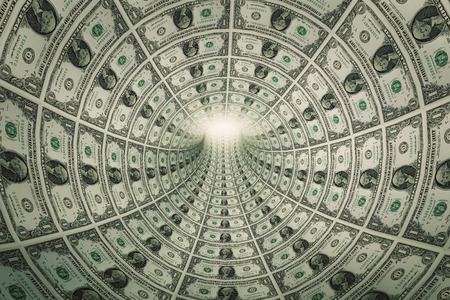 trap: Tunnel of money, dollars towards light. Conceptual