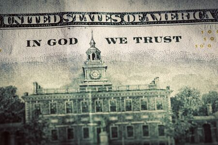 in god we trust: In God We Trust motto on One Hundred Dollars bill.  Stock Photo