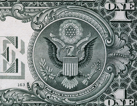 dollaro: Banconota da un dollaro americano. Archivio Fotografico