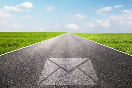 e mail: Mail, message symbol on long straight road, highway.