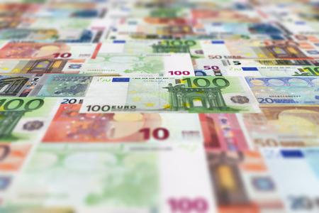 banconote euro: Euro banconote piano sfondo. Archivio Fotografico