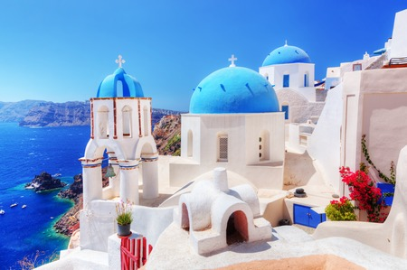산토리니 섬, 그리스에 Oia 마을.