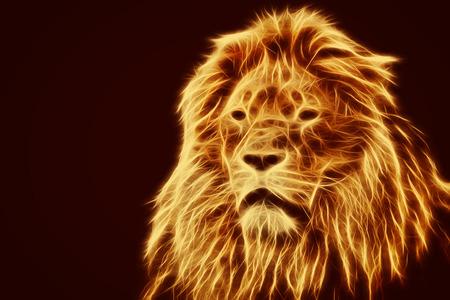 Abstract, artistic lion portrait.