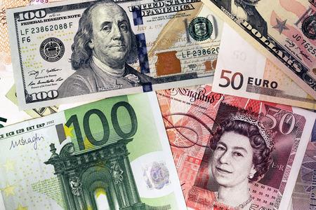 sterlina: Mix di valute banconote Archivio Fotografico