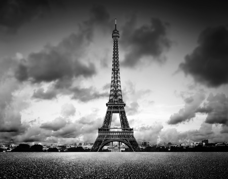 Black and white, vintage mood with dramatic sky.