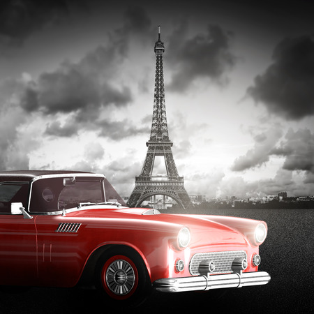 Artistic image of Eiffel Tower, Paris, France and red retro car.