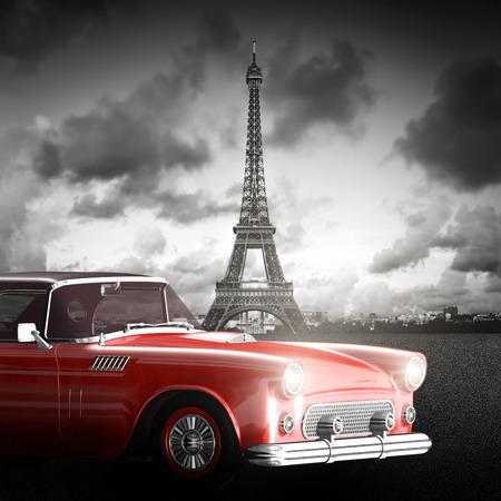 paris vintage: Imagen art�stica de la Torre Eiffel, Par�s, Francia y el coche rojo retro. Foto de archivo