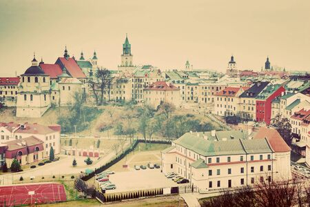 lublin: Lublin old town panorama, Poland. View from the Castle. Vintage, retro style. Stock Photo