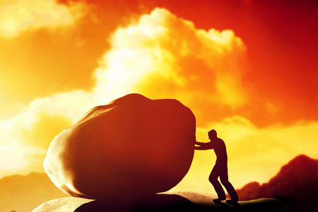 tasks: Man pushing a giant, heavy stone, rock over the mountain. Conceptual, struggle, difficult task.