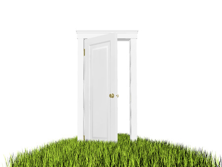 Open door to new world. Green grass carpet. On white background, copyspace. Hope, entrance, future concept.
