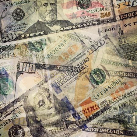 usd: Money abstract background. USD dollar bills overlay. Stock Photo