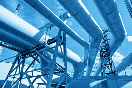 urban environments: Pipes at thermal electic power station. Industry, urban industrial.